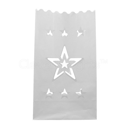 CleverDelights White Luminary Bags - 30 Count - Star Design - Flame Resistant Paper - Wedding, Reception, Party and Event Decor - Luminaria Candle Bag](Luminaria Maui)