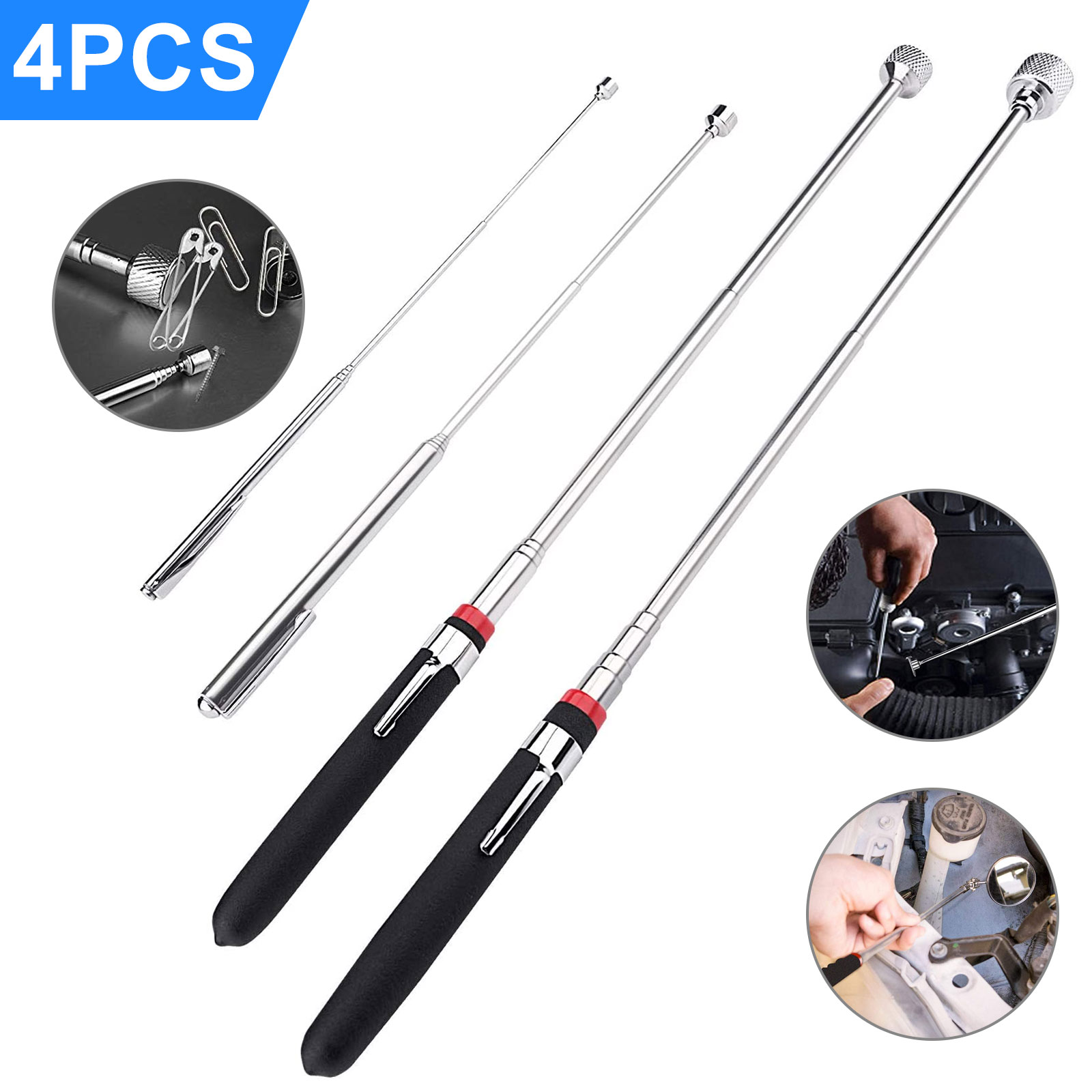 Magnetic Pick-up Tool Retrieval Tool Telescoping Stainless Steel with LED Light for Quick Find of Metal Items at Home,Garage,Yard and Office