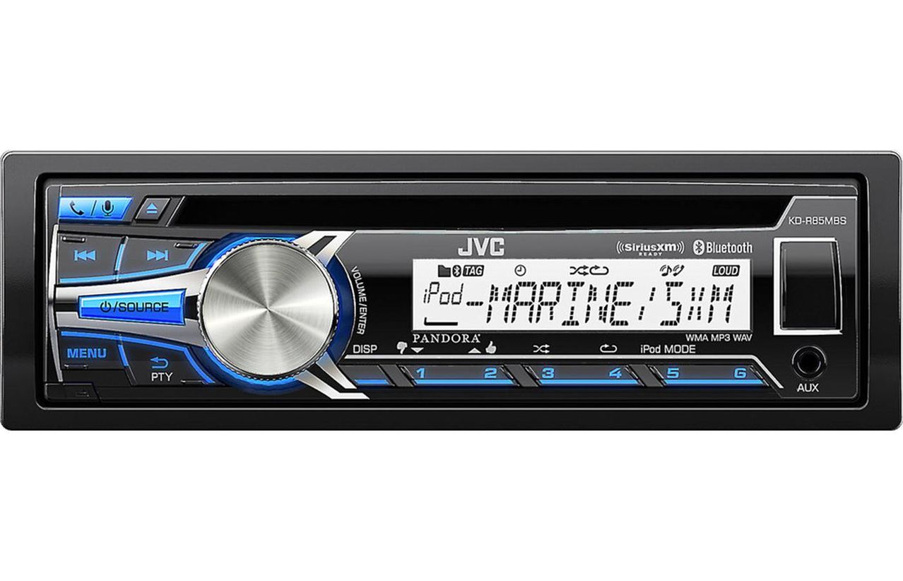Click here to buy JVC KD-R85MBS Single DIN Bluetooth In-Dash CD AM FM Marine Receiver by JVC.