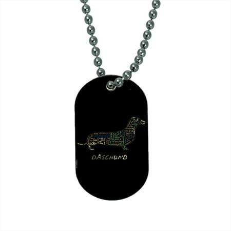 KuzmarK Pendant Dog Tag Necklace - Daschund Camouflage - Camo Cross Necklace