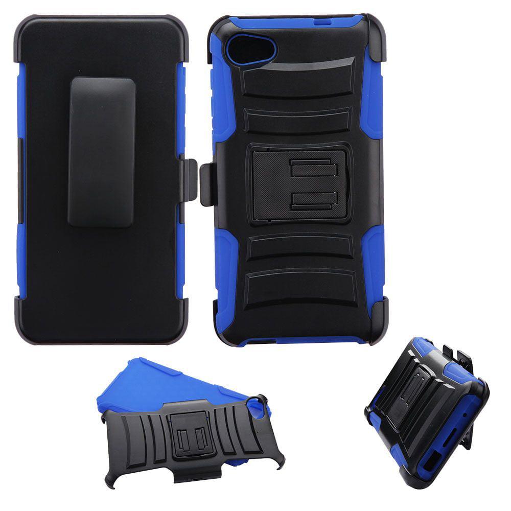 Alcatel Pulsemix Case, by Insten Advanced Armor Hybrid Stand Hard Plastic/Soft TPU Rubber Case Holster For Alcatel Pulsemix - Black/Blue - image 3 de 3