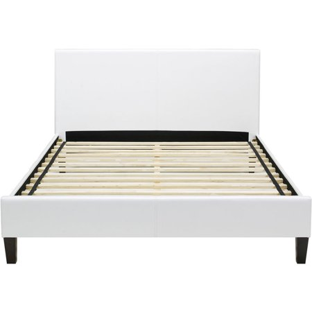 Downtown White Leather Twin Platform Bed Frame - Walmart.com