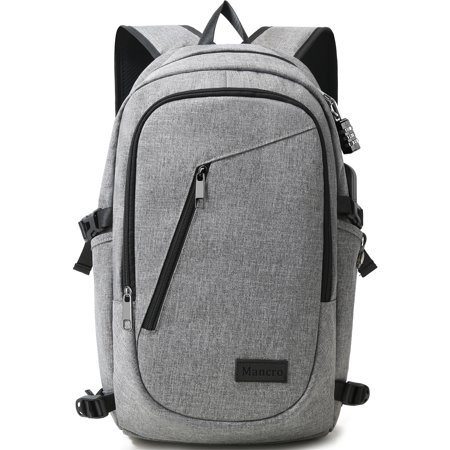 b3f46ffd230 Mancro 15.6   Water Resistant Laptop Backpack, Durable Anti-theft Outdoor Travel  Bags