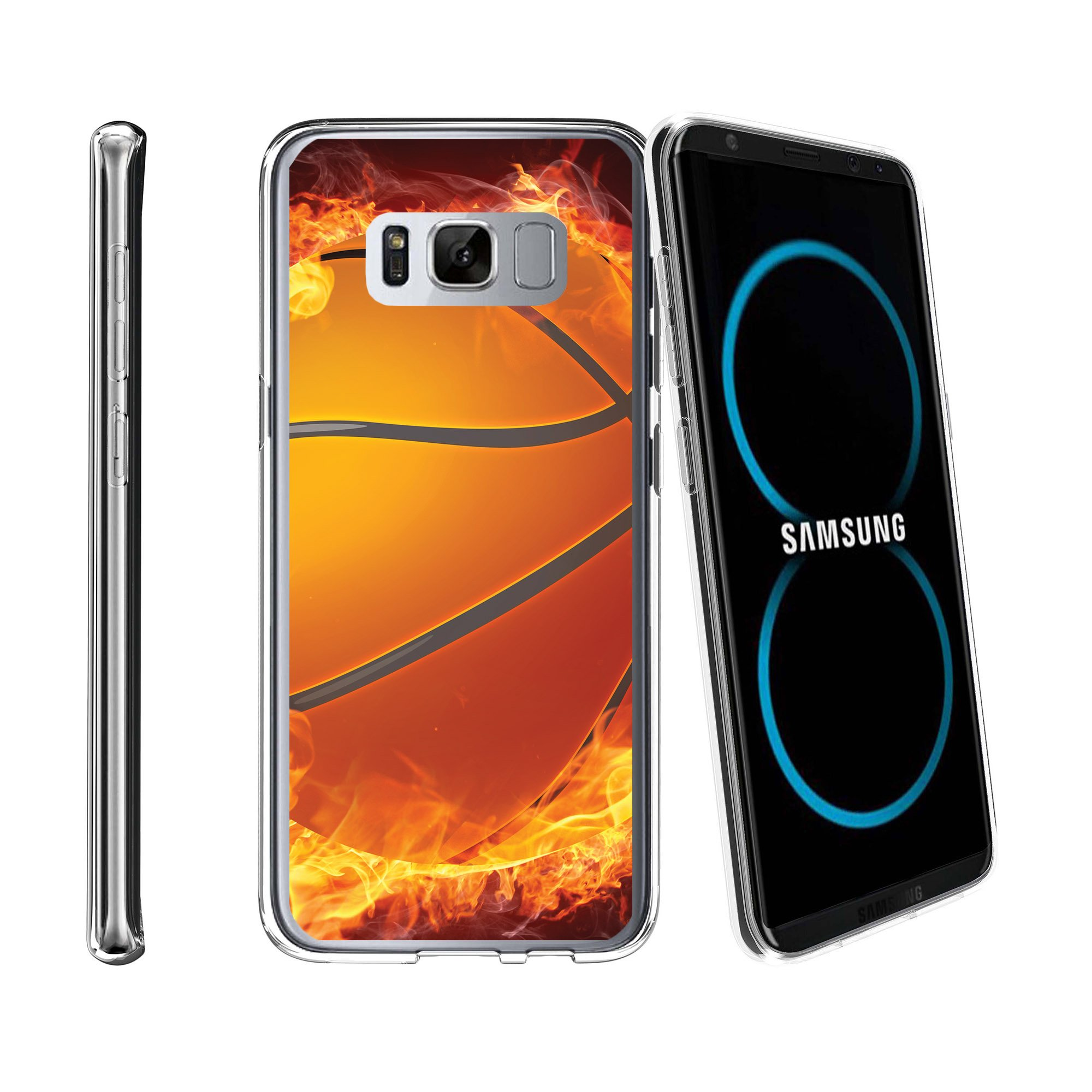 Case for Samsung Galaxy S8 Plus | Galaxy S8 Plus Transparent Silicone Case [ Flex Force ] Flexible Clear Case Basketball Collection