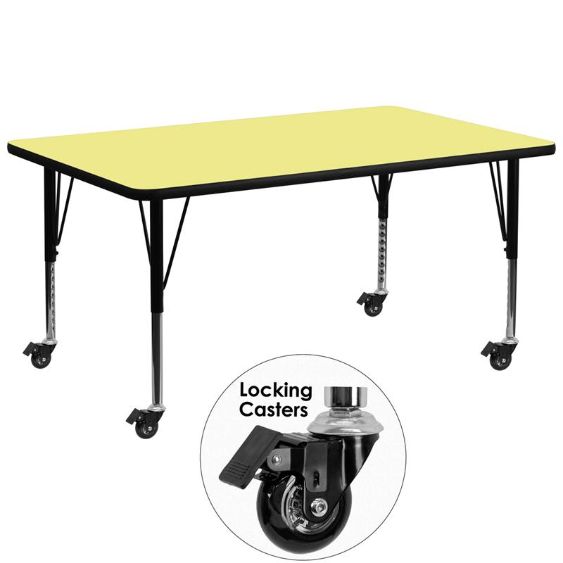 Mobile 30''W x 72''L Rectangular Yellow Thermal Laminate Activity Table - Height Adjustable Short Legs