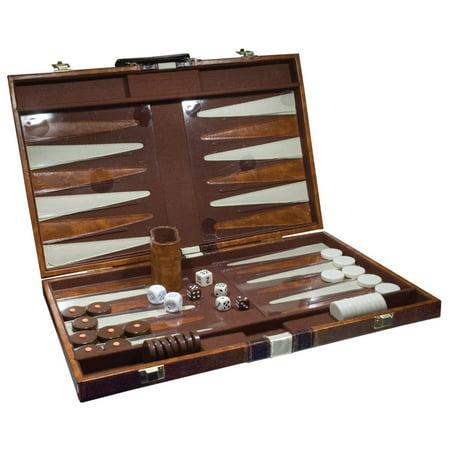 White Stitching Backgammon Set - Deluxe Backgammon Set