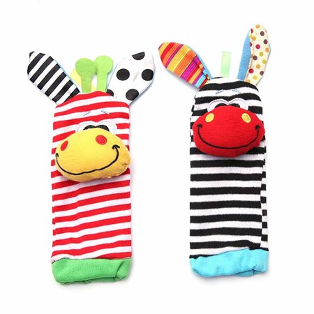 Baby Cartoon Animal Pattern Wrist Rattle Educational Toy Wrist Strap with Socks
