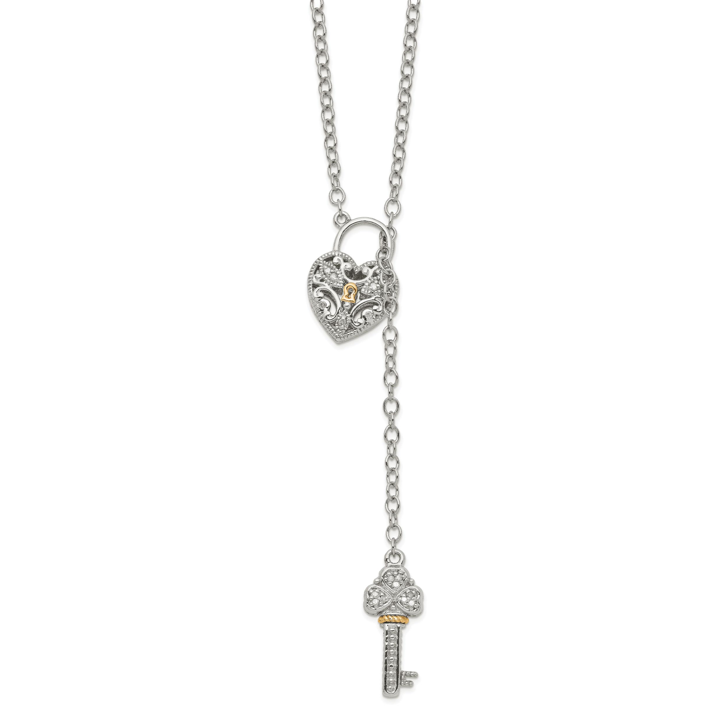 925 Sterling Silver Lock Key Pendant Love Charm Fashion
