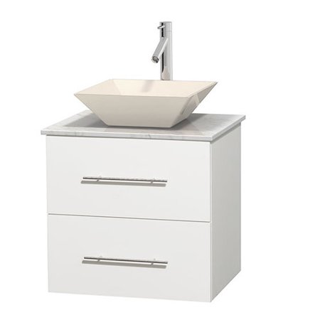 Wyndham Collection Centra 24 inch Single Bathroom Vanity in Matte White, White Carrera Marble Countertop, Pyra Bone Porcelain Sink, and No Mirror ()