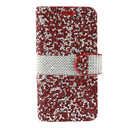 LG Aristo 2 phone case by Insten Book-Style Rhinestone Diamond Bling Leather [Card Holder Slot] Wallet Pouch Case Cover For LG Aristo 2/K8 (2018)/Tribute Dynasty ()