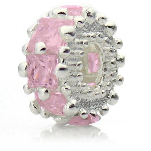 "Pacific Charms Silver-Tone Crystal Bead, ""Glitteratzi"" Pink Crystal"
