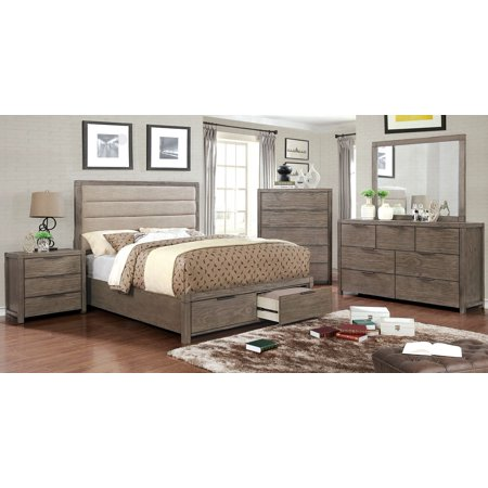 New bedroom furniture rustic style modern padded fabric - King size bedroom set with mirror headboard ...