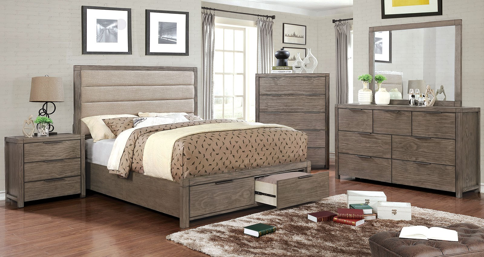 Superieur New Bedroom Furniture Rustic Style Modern Padded Fabric Headboard  California King Size Bed W Drawers FB