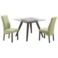 "Pyke 5 Piece Kitchen Dining Set (40"" Square Flared Leg Cappuccino Table & 4 Pink Parsons Chairs)"