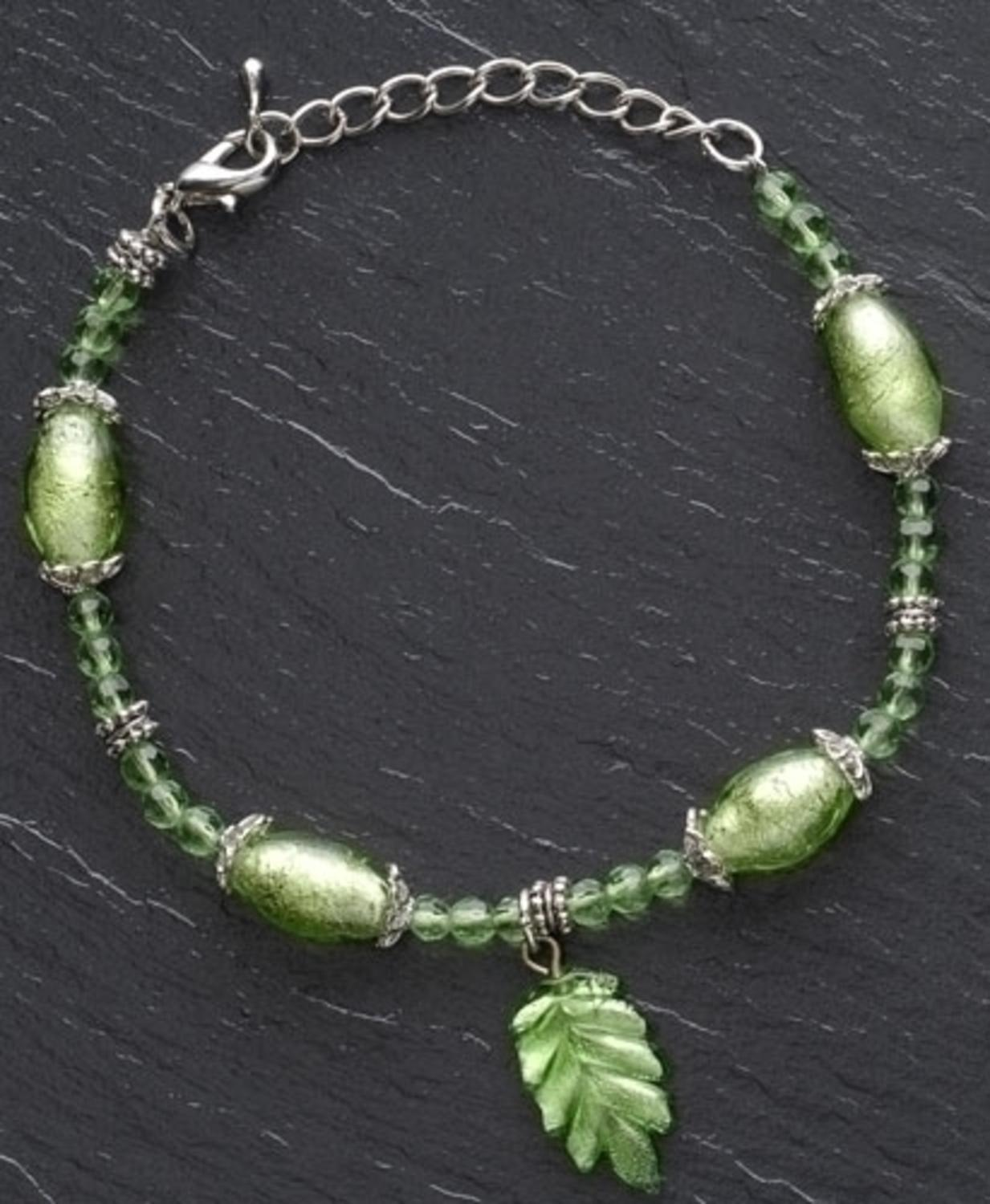 "Moments In Life ""Santé"" Green Bracelet perles"