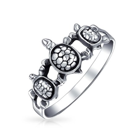 Friendship Three Best Friends Family Sea Turtle Ring Band For Teen For Women 925 Sterling Silver