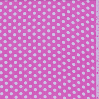 Pink/White Dot Crinkled Chiffon, Fabric By the Yard