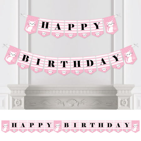 Purr-FECT Kitty Cat - Kitten Meow Birthday Party Bunting Banner - Birthday Party Decorations - Happy - Cat Birthday Party