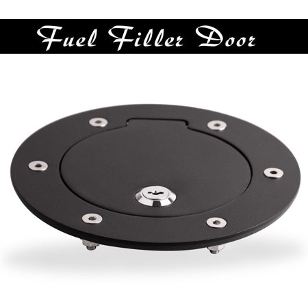 Black Aluminum Gas Fuel Door Cap With Lock For 02-09 Dodge Ram 1500 2500 3500 Aluminum Fuel Cap