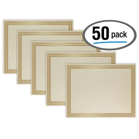 50 Sheet Award Certificate Paper, Gold Foil Metallic Border, Ivory Letter Size Blank Paper, by Better Office Products, Diploma Certificate Paper, Laser and Inkjet Printer Friendly, 8.5 x 11 Inches