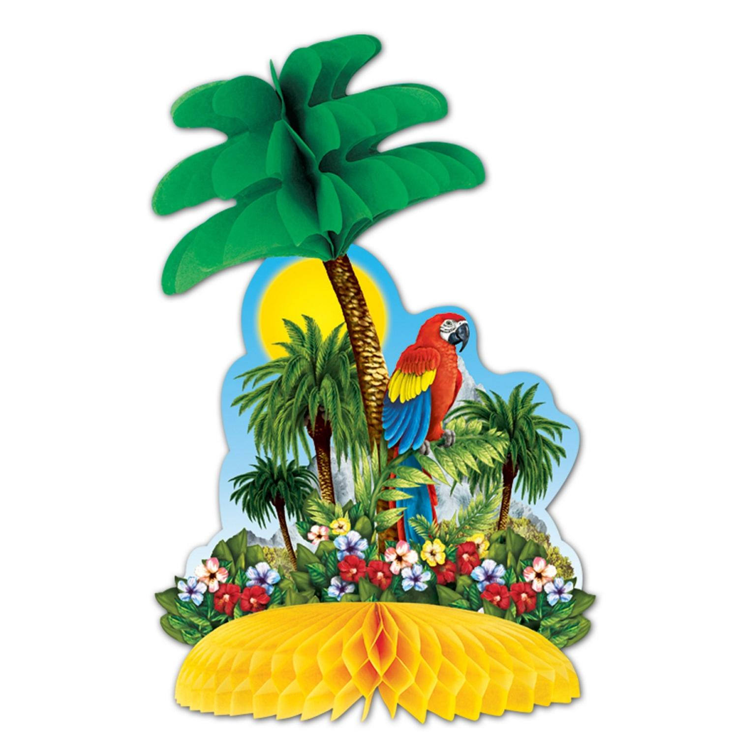 Club Pack of 12 Multi-Colored Tropical Island Honeycomb Tissue Centerpiece Party Decorations 12""