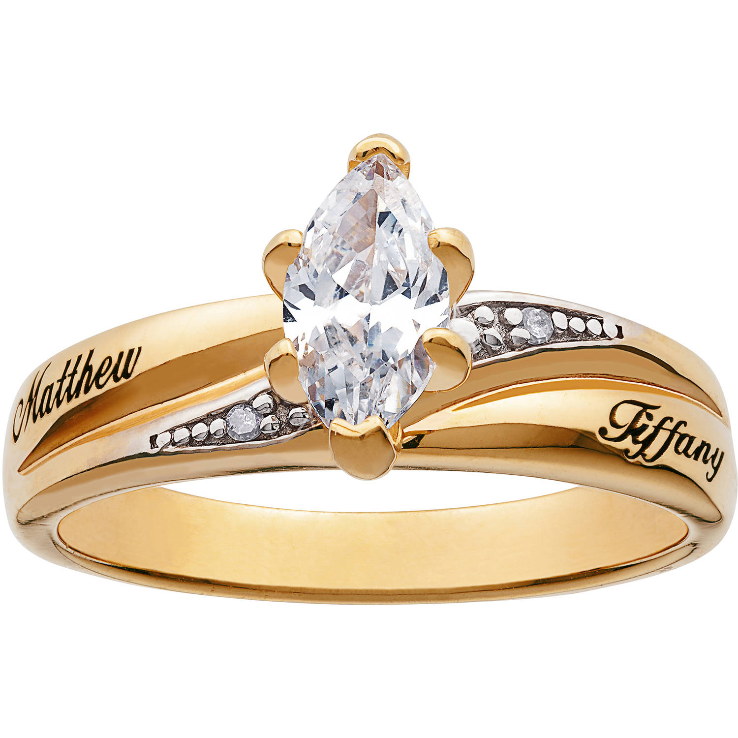 Personalized Two Tone Marquise Cubic Zirconium Engagement Ring