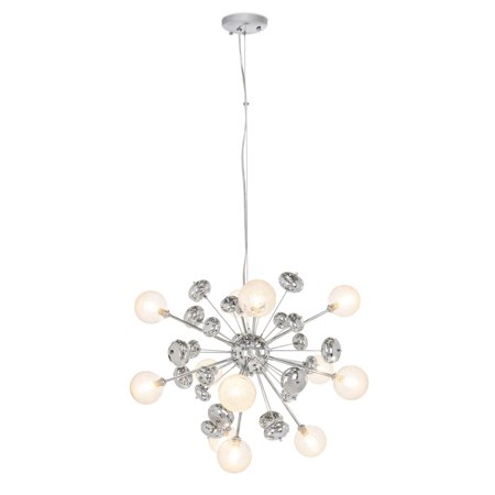 Best Choice Products Mid-Century Modern Metal Hanging Cluster Pendant Lighting Chandelier Fixture for Living Room, Dining Room with Adjustable Height, Silver, 12 Lights ()