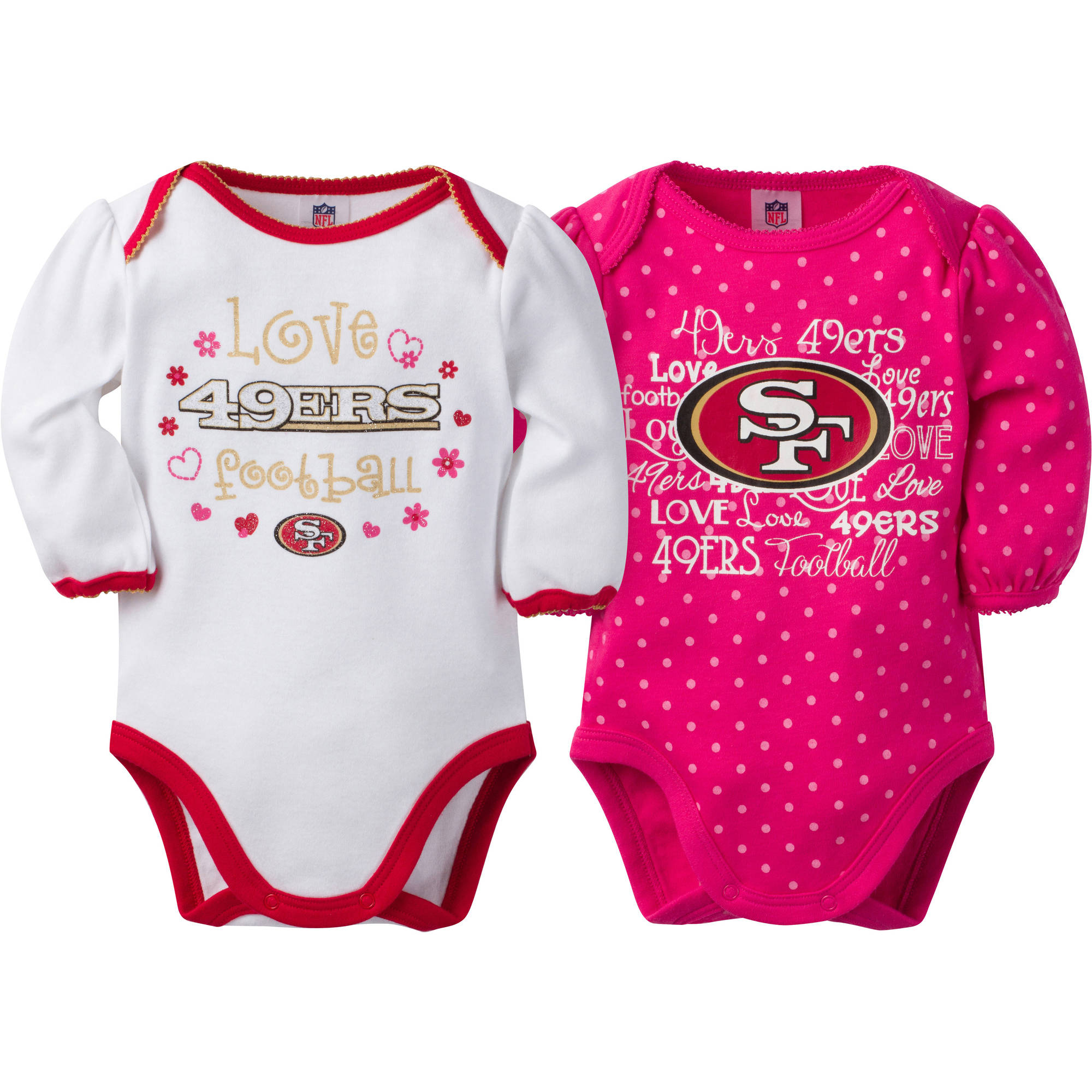NFL San Francisco 49ers Baby Girls Long Sleeve Bodysuit Set, 2-Pack