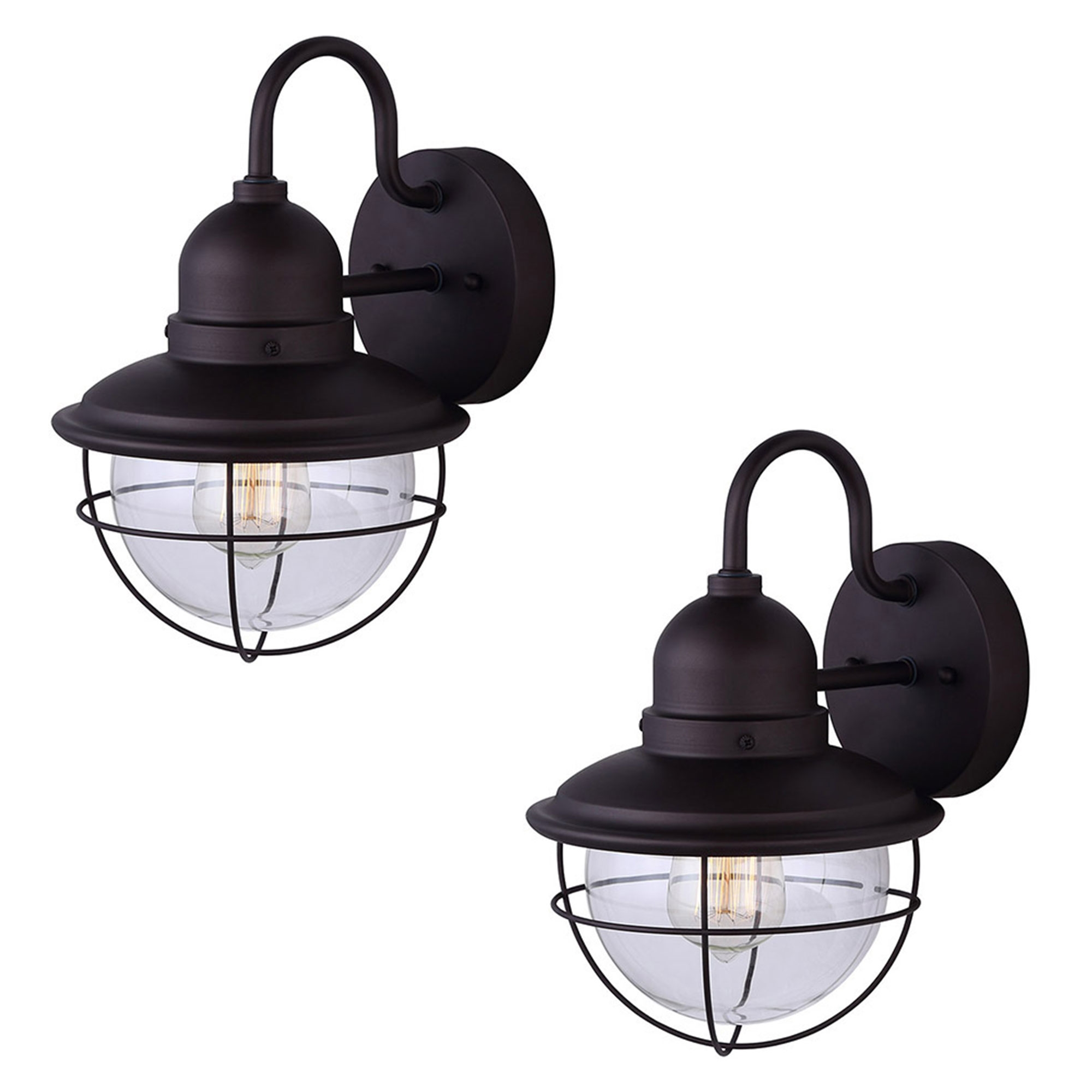2 Pack of Exterior Outdoor Cage Light Vintage Bulb Fixture Sconce, Oil Rubbed Bronze... by HowPlumb