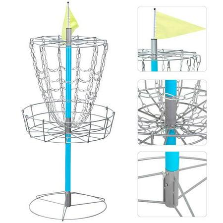 Portable Disc Golf Basket - Lightweight Double Chains Portable Practice Target Steel Hole Disc Golf Goals -