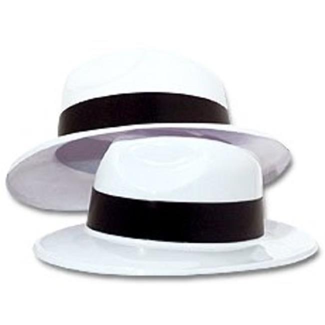 DDI 1878023 White Plastic Gangster Hat Party Favor