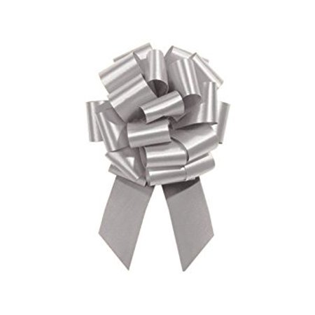 Silver Pull String Bows - 8 Inch Wide 20 Loops Large (2 and 1/2 Inch Ribbon) Set of