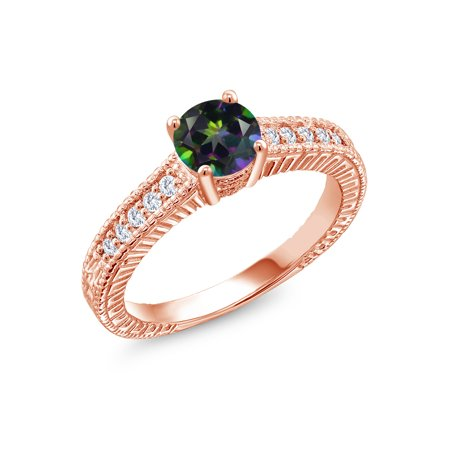 1.15 Ct Green Mystic Topaz G/H Lab Grown Diamond 18K Rose Gold Plated Silver Ring