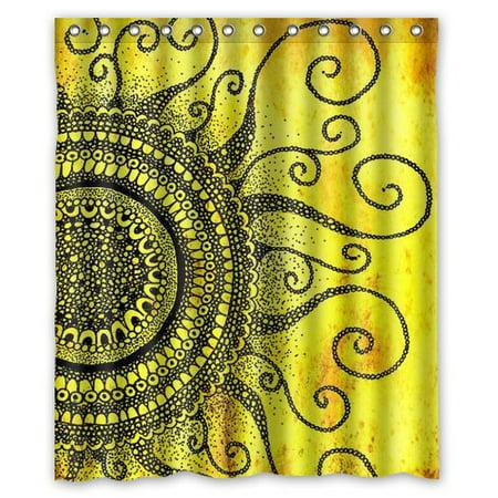 HelloDecor My Sunshine Sunburst Strip sunlight nature Shower Curtain Polyester Fabric Bathroom Decorative Curtain Size 60x72 Inches
