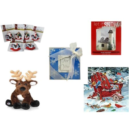 Christmas Fun Gift Bundle [5 Piece] - Brite Star Classic Trims Rocking Horse Ornament Set of 6 - Let It Snow Glass Ornament Church - Acrylic Snowflake