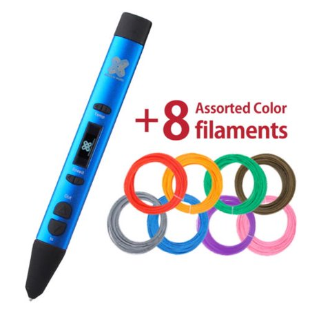 3D PEN GEN-II by Titanium Micro - with OLED display, USB 3D Printing Pen Compatible with PLA / ABS Filament. Free 5 assorted filaments (PLA/ABS) - Blue