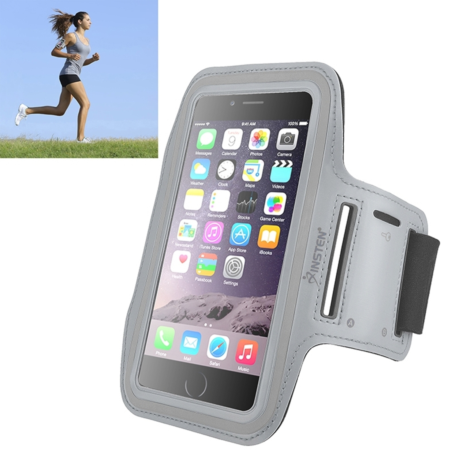 Insten Silver Sports Running Workout Exercise Gym Armband Case For iPhone 6 Plus 6S Plus / Samsung Galaxy Note 5 4 3 S7 Edge Phone (with key Holder Storage Slot)