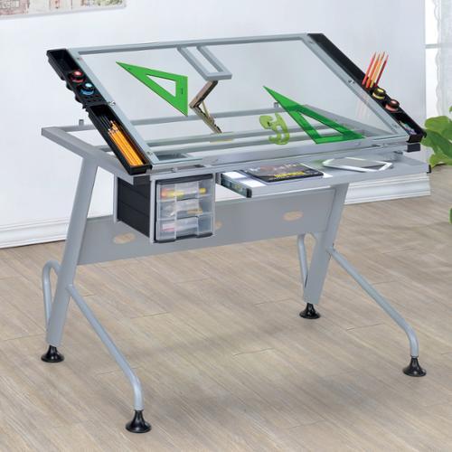 Furniture of America Kaisa Modern Silver Glass Top Draft Table