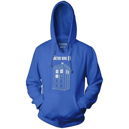 Doctor Who Series 7 Linear Tardis Logo Adult Royal Blue Sweatshirt Hoodie (Tardis Sweatshirt)