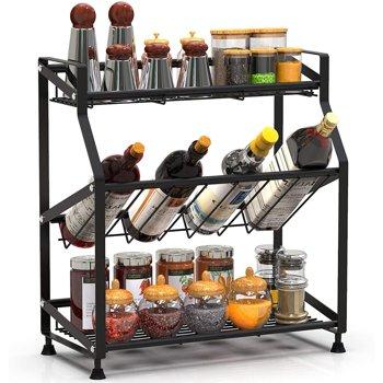 Spice Rack Organizer 3 Tiers Kitchen Metal Spice Holder Storage