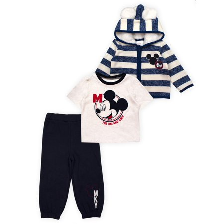 Mickey Mouse Outfit For Toddlers (Mickey Mouse Mickey Ear Microfleece Jacket, Short Sleeve T-Shirt & Pants, 3pc Outfit Set (Baby)