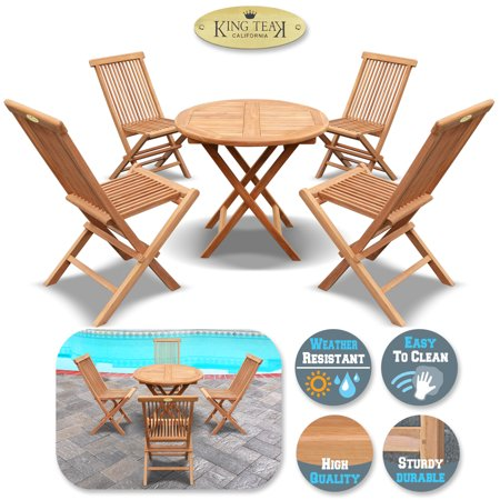 King Teak Outdoor Golden Teak Wood 4PC Folding Chair and 1 PC Round Table Set, Patio Furniture set ()