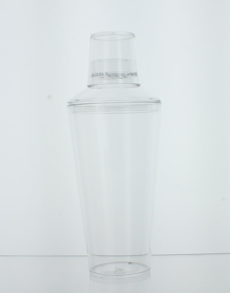 25 oz. Plastic Cocktail Shaker W Jigger Cap Clear Bartender Party Drink Mixer by