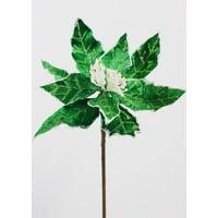 """3PK Green Velvet Poinsettia Flower - 24"""" Tall"""