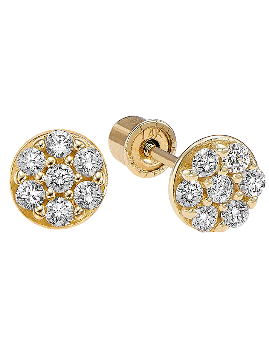 14k Gold Small Round CZ Stud Earrings with Secure Screwbacks for Girls (yellow-gold)