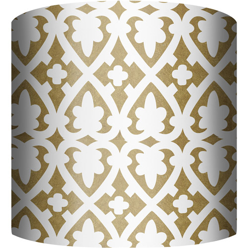 "10"" Drum Lamp Shade, White and Gold III"