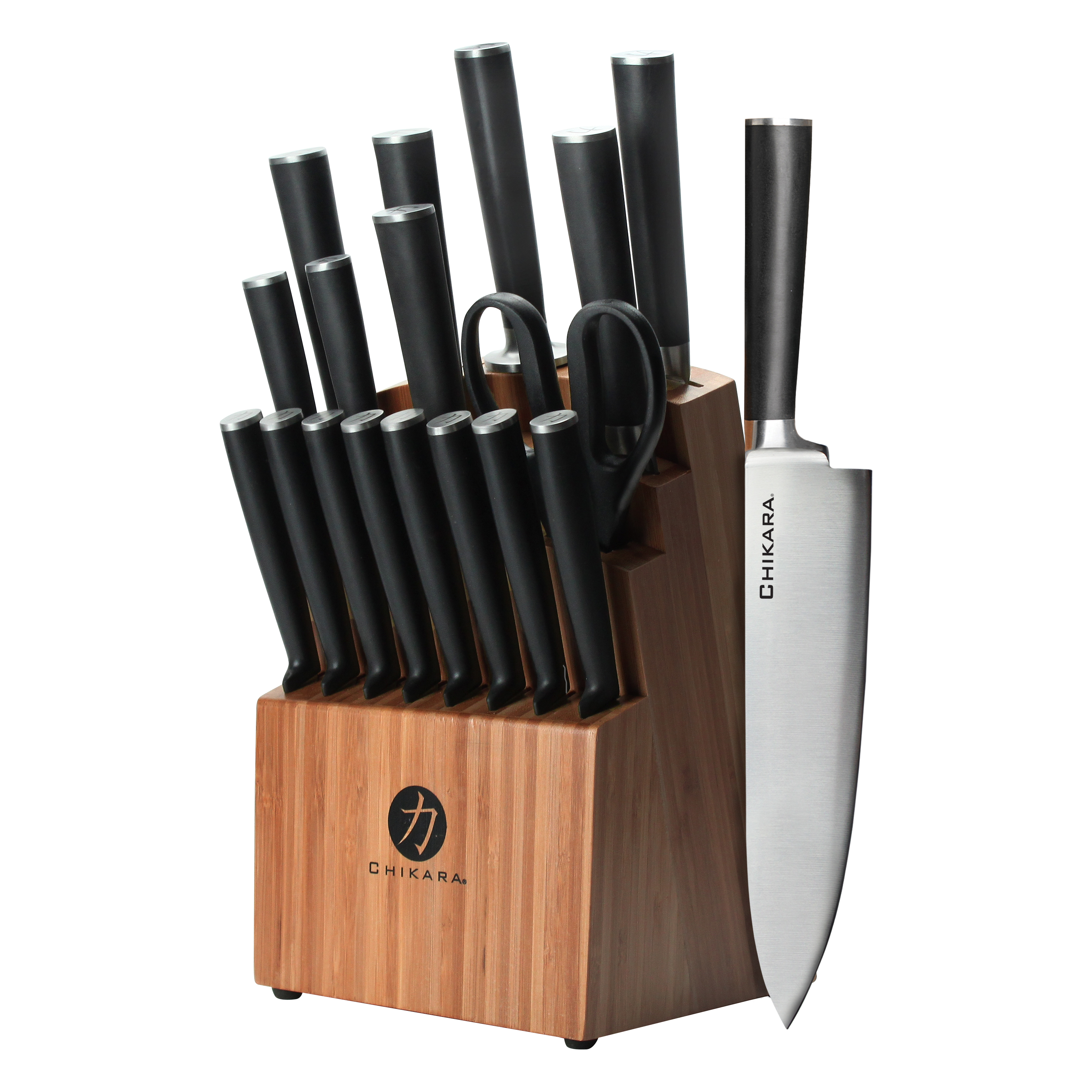 Ginsu Gourmet Chikara Series Forged 19-Piece Japanese Steel Knife Set – Cutlery Set with 420J Stainless Steel Kitchen Knives – Bamboo Finish Block, COK-KB-DS-019-1