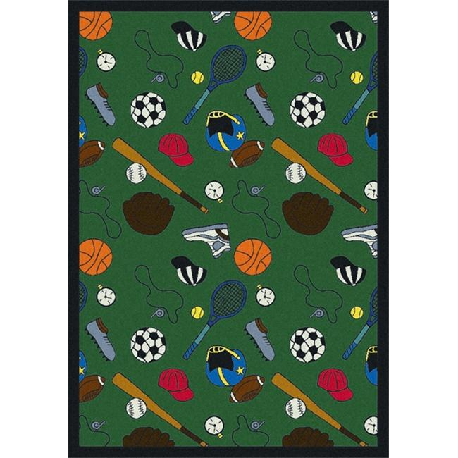 "Joy Carpets Games People Play - Gaming & Sports Area Rugs Multicolored-Sport, 5'4"" x 7'8"", Green"