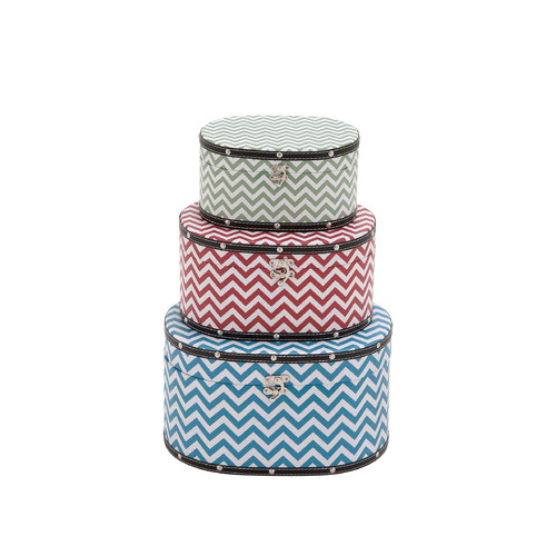 Cole & Grey Zig - Zag Patterned 3 Piece Wood Vinyl Box Set