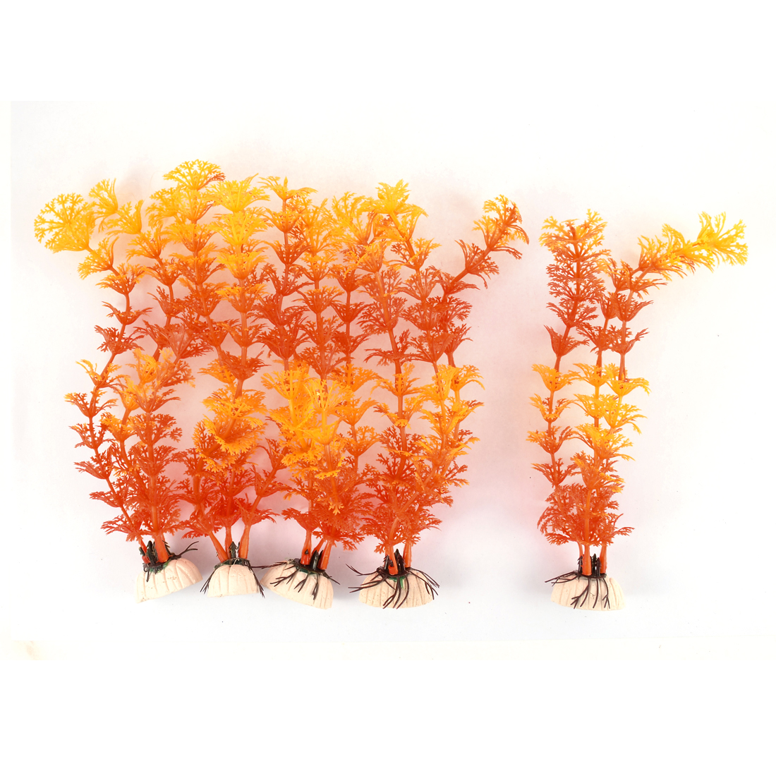 Unique Bargains Fish Tank Aquarium Plastic Leaf Water Grass Plants Decoration Orange Yellow 5PCS